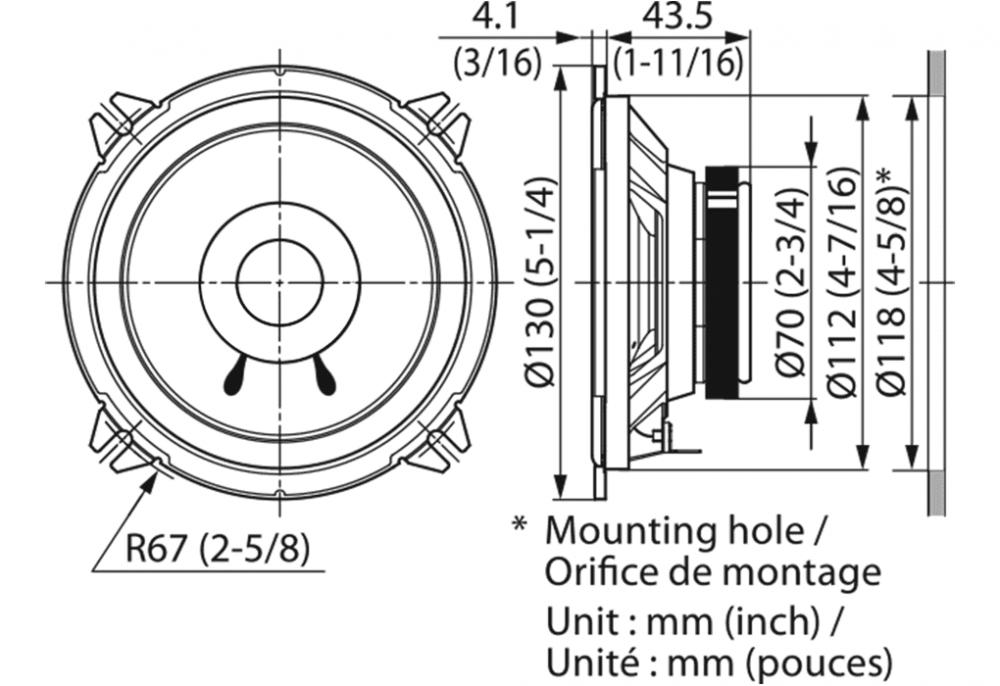"Kenwood KFC-S1356 Ζεύγος Ηχείων Διπλού Κώνου (5.25""-13cm) Ισχύος 30Watt RMS   DBM Electronics"