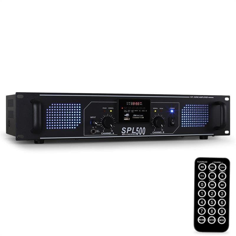 SKYTEC SPL-500MP3 Ημιεπαγγελματικός Τελικός Ενισχυτής 2 x 200 Watt Max / 8 Ohm με MP3 / USB / SD - Επαγγελματικός Ήχος :: Επαγγελματικοί Τελικοί Ενισχυτές