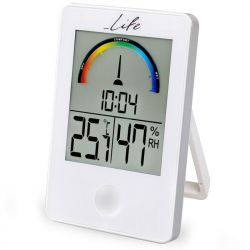 LIFE WES-101 Ψηφιακό Θερμόμετρο / Υγρόμετρο Εσωτερικού Χώρου Με Ρολόι Και Έγχρωμη Απεικόνιση Επιπέδων Υγρασίας | DBM Electronics