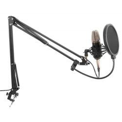 VONYX 173.503 Studio Set Με Μικρόφωνο Phantom, Βάση στήριξης Και Anti-Pop Φίλτρο (Silver) | DBM Electronics