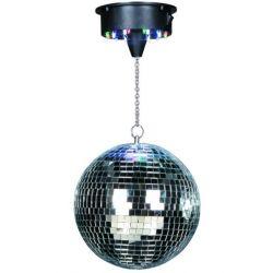 Ibiza Light Disco1-30 Σετ Μπάλα Καθρέπτης (12''-30cm) Με Περιστρεφόμενο Μοτέρ & 18 Πολύχρωμα Led | DBM Electronics